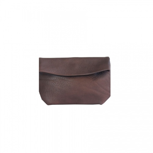 Large Taupe Leather Clutch