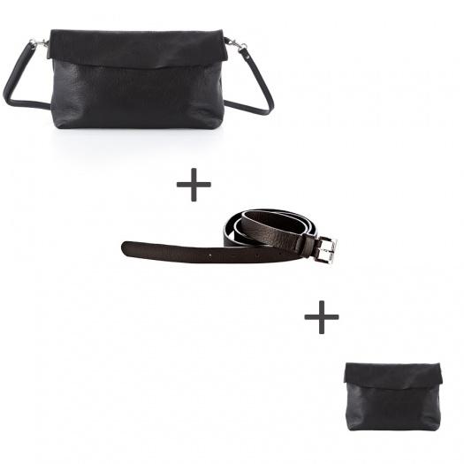 Pochette bandoulière Noire + Pochette small Noire + Ceinture Noire