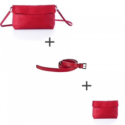 Pochette bandoulière Rouge + Pochette small Rouge + Ceinture Rouge