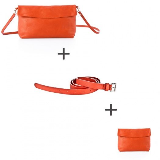 Pochette bandoulière Orange + Pochette small Orange + Ceinture Orange