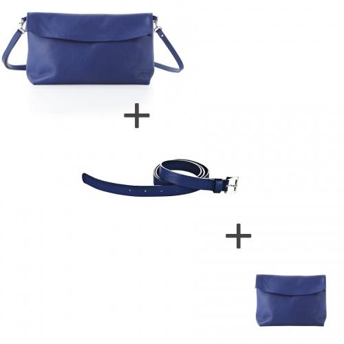 Pochette bandoulière Bleue + Pochette small Bleue + Ceinture Bleue