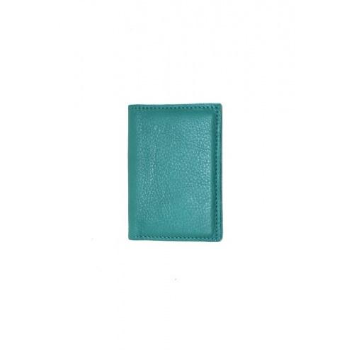 Porte Cartes Bleu Canard en Cuir