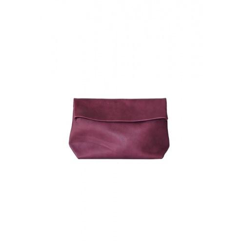 Large Purple Leather Clutch
