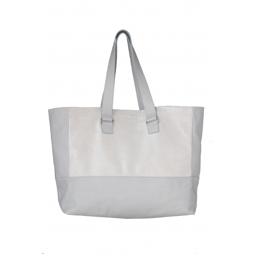 Glitter & Light Grey Leather Tote