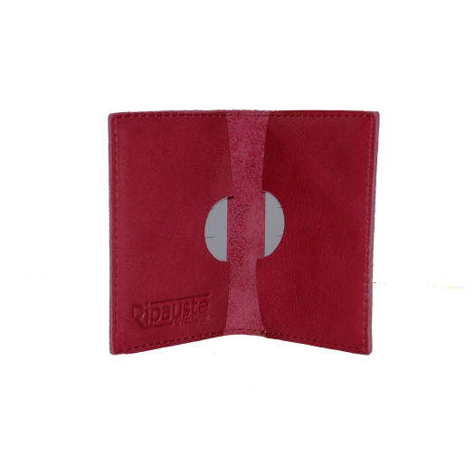 Porte Cartes Rouge en Cuir
