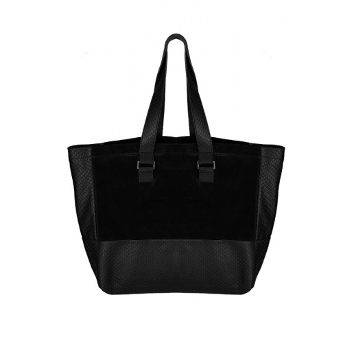 Black suede and Croco Leather Tote