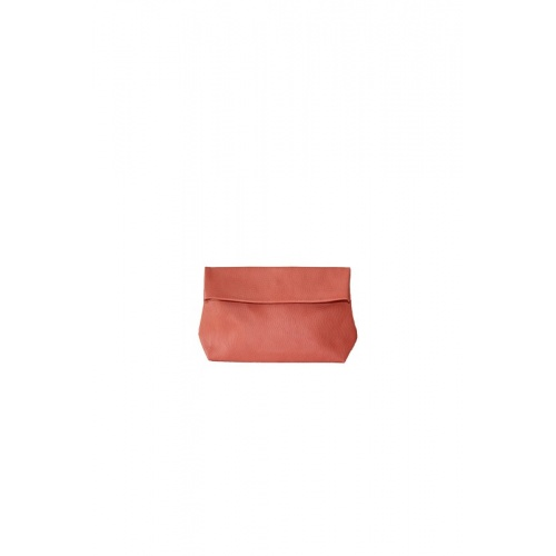 Small Perforated Coral Leather Purse