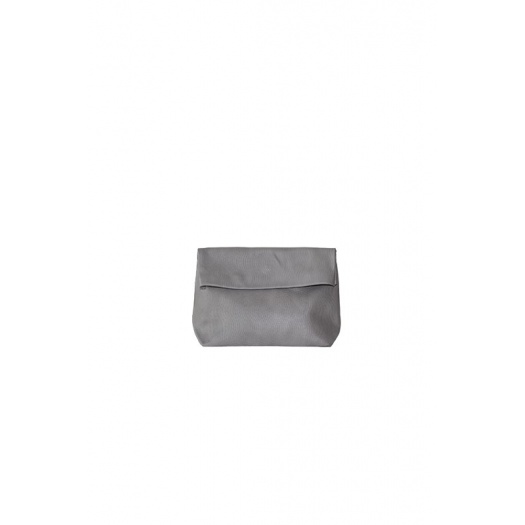 Pochette Small Lazy Grey en Cuir Perforé