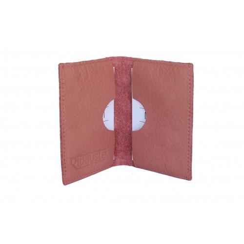 Old Pink Leather Card Holder