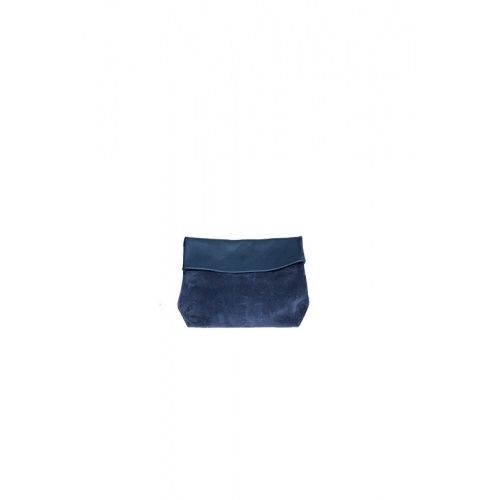 Small Navy Suede and Leather Purse