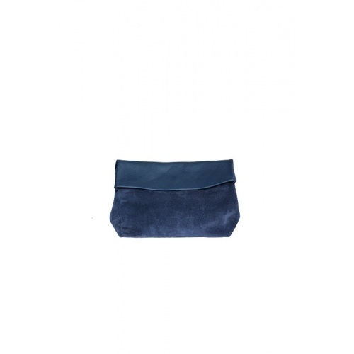 Medium Navy Velvet and Leather Purse