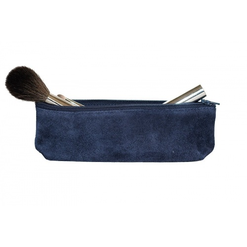 Navy Velvet & Leather Pencil Case