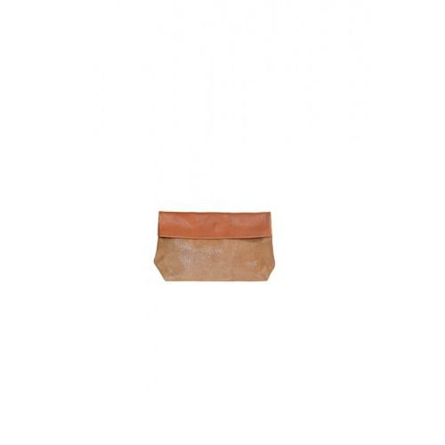 Pochette Small Cognac / Paillettes Caramel