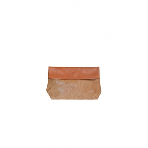 Medium Glitter and Cognac Leather Purse