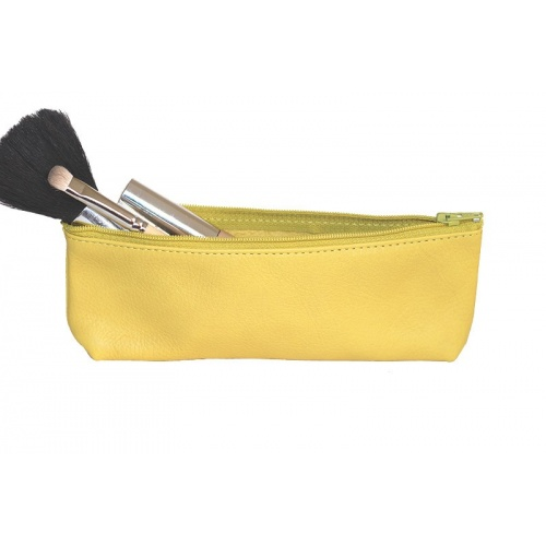Yellow Leather Pencil Case