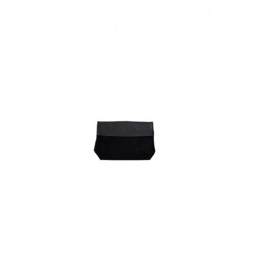 Acheter Small Black Suede & Croco Leather Purse