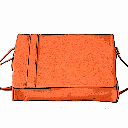 Sac orange en cuir