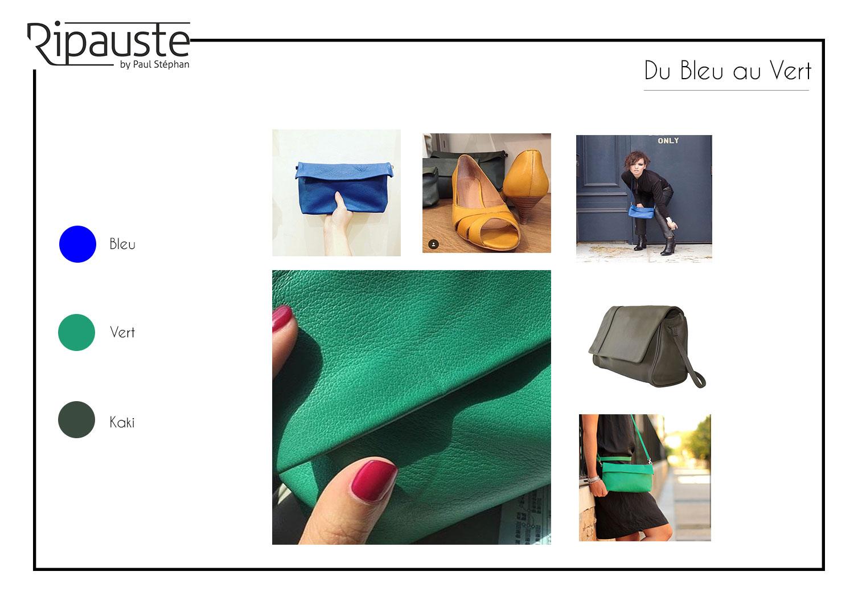 pochette en cuir bleu et verte